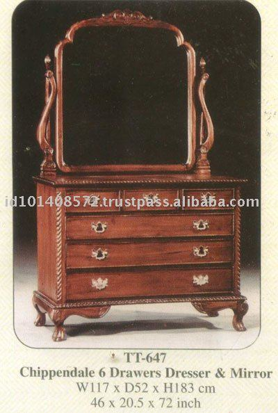 Chippendale 6 Drawers Dresser & Mirror Mahogany Indoor Furniture.