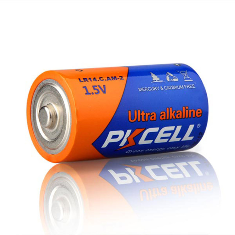 10 year shelf life pkcell battery 1.5v voltage r14 um2 lr14 am2 lr4 c size alkaline battery for torch
