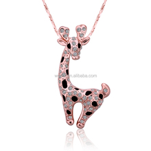 Fashion Black Enamel Pave Zircon Stones Giraffe Pendant Jewelry Necklace In Rose Gold for Women