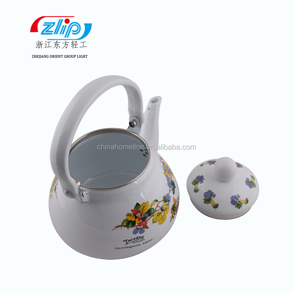 1.5L Pearl Shape Good Quality Enamel Tea Kettle Decorated