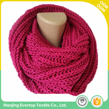 Custom high quality fashion clothing accessories winter women infinity knit scarf