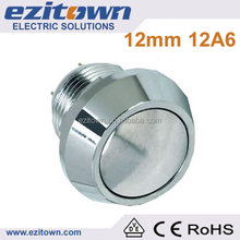 1NO IP65 2A 12mm stainless steel round head momentary resetable auto reset micro waterproof 120v cylinder push button switch