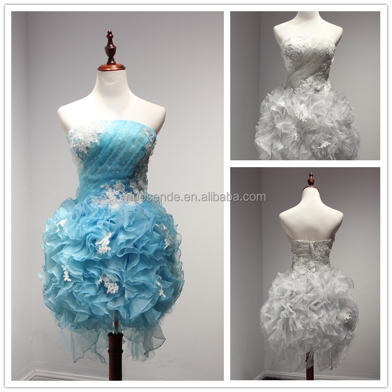 Custom made designer Colorful Strapless Sweetheart appliqued short organza Prom Dress 2016