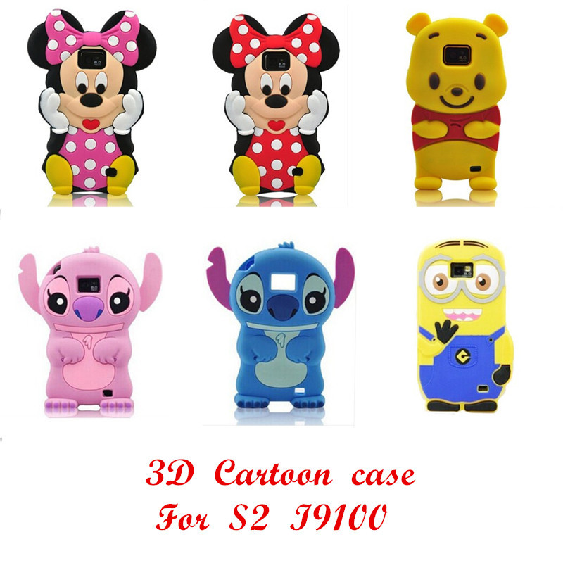 Newest 3D cartoon animal series soft silicone case For Samsung Galaxy S2 SII i9100 s3/s4/s4 mini/s5/