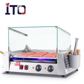 Hot koop mini hot dog roller grill worst grill roller met glas cover