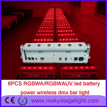 Guangzhou hot product wall washer remtote control battery led 6pcs18w RGBAW UV 6 IN1 Wireless dmx led uplights