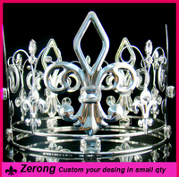 5inch fashion silver simulated imperial diamond full circle king crown for men