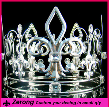 5inch fashion silver simulated imperial diamond full circle king <strong>crown</strong> for men
