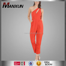 Casual Pants Style And Women Gender Jumpsuits For Women 2016 Sexy One Shoulder Orange Jumpsuits