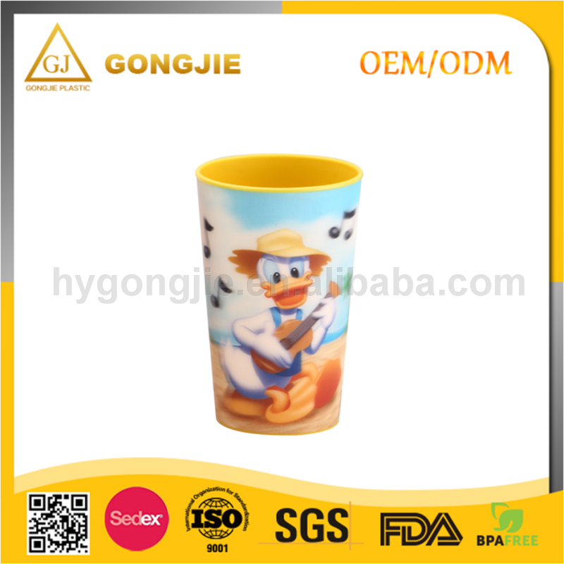 Taizhou Gongjie PP Wholesale Promotion reusable small plastic cup with lid and straw China manufacturer