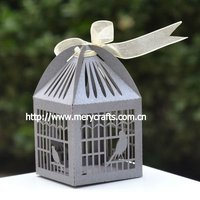 "2013 hot sale! laser cut ""bird cage"" Christmas favour box MOQ 600 pcs with fast shipment from Mery Crafts"