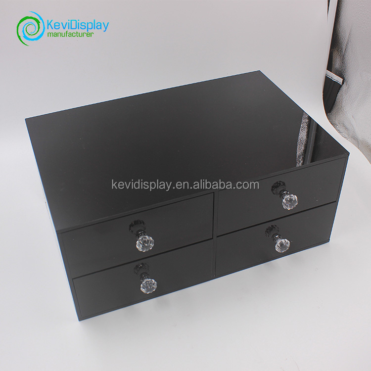 Acrylic Makeup Boxes Large 4 Drawer Jewerly Chest or Makeup Storage Ideas Case Lipstick Liner Brush Holder
