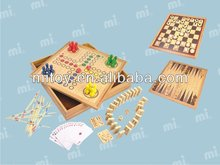wooden Ludo and backgammon chess checkers game set for kids