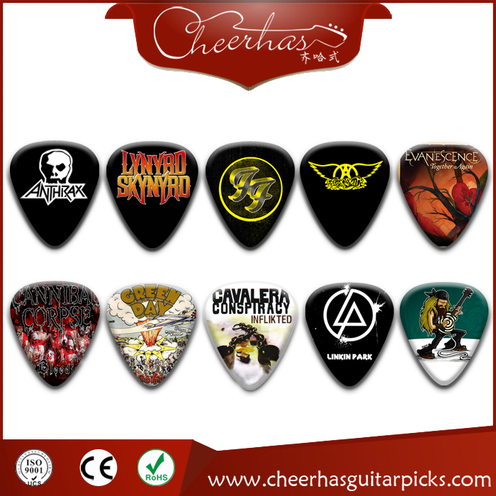 Celluloid Personalized Guitar Picks With Band Logo Printing