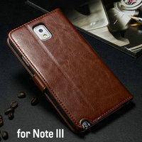 Hot sale equipment for cell phones of high quality PU leather mobile phone case for samsung note3 with card holder and bill site