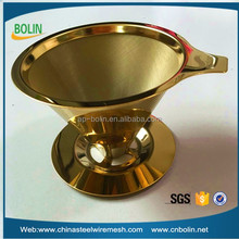 Alibaba China titanium coated gold pour over cone coffee dripper / kone coffee filter mesh