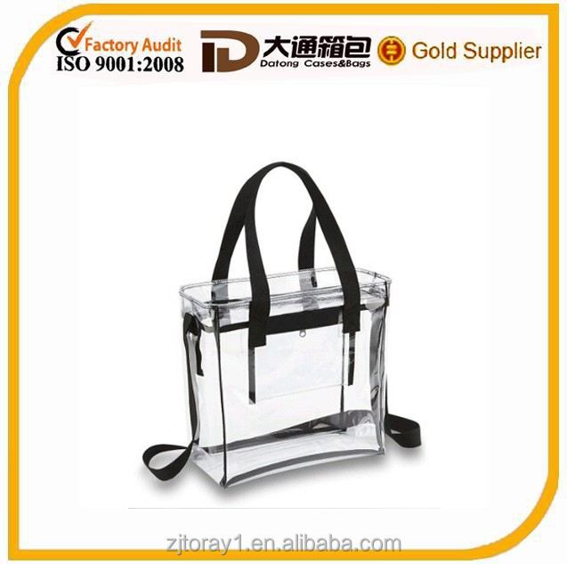 clear PVC stadium handbag cosmetic bag with front pocket