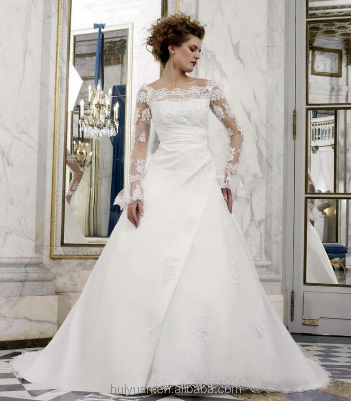 white long sleeve lace high neck plain satin wedding gown 2015