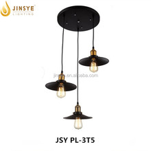 Retro black 3 light hanging pendant light metal lamp shade