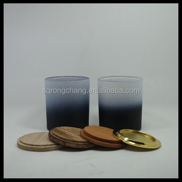 300ml multi-colored glass candle cup with lid