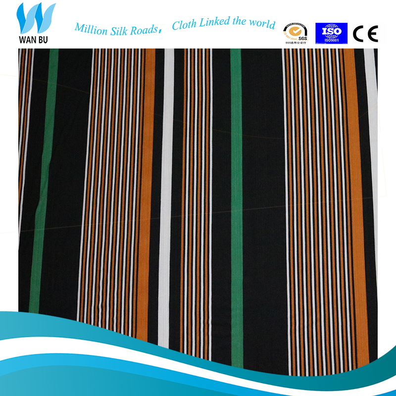 hand on stock green and brown and white stripe printed stripe printed silk fabric