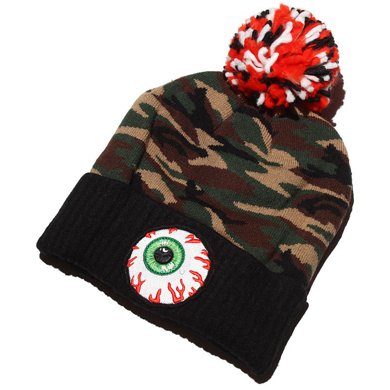 Embroidery eye custom camo pompom knitted hats for winter