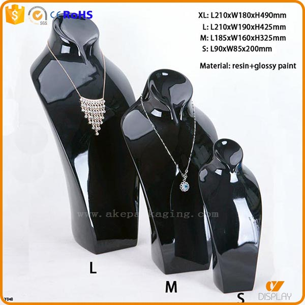 resin black lacquer glossy finished jewelry necklace bust displays
