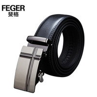 FEGER Fashion Leather Automatic Buckle Men Belt Buckle Belt Leather Straps for Men