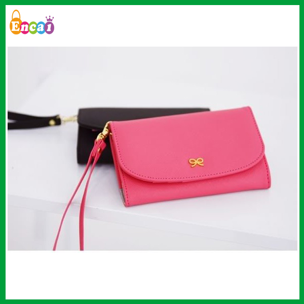 Encai Wholesale Fashion Ribbon Smart Phone Wallet/Mobile Phone Case/Cell Phone & Card Holder With Hand strap