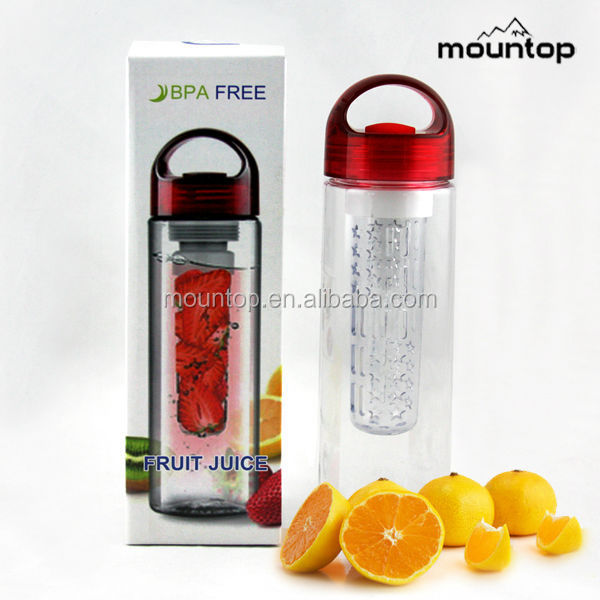Fruit Infuser Water Bottle PET Plastic Clear 26oz Alkaline Infused Drink Fruit Infuser Water Bottle