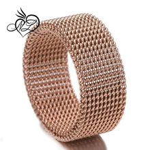 Gold Plated 8mm Flexible Mesh Band Ring Mens Womens Stainless Steel Jewelry