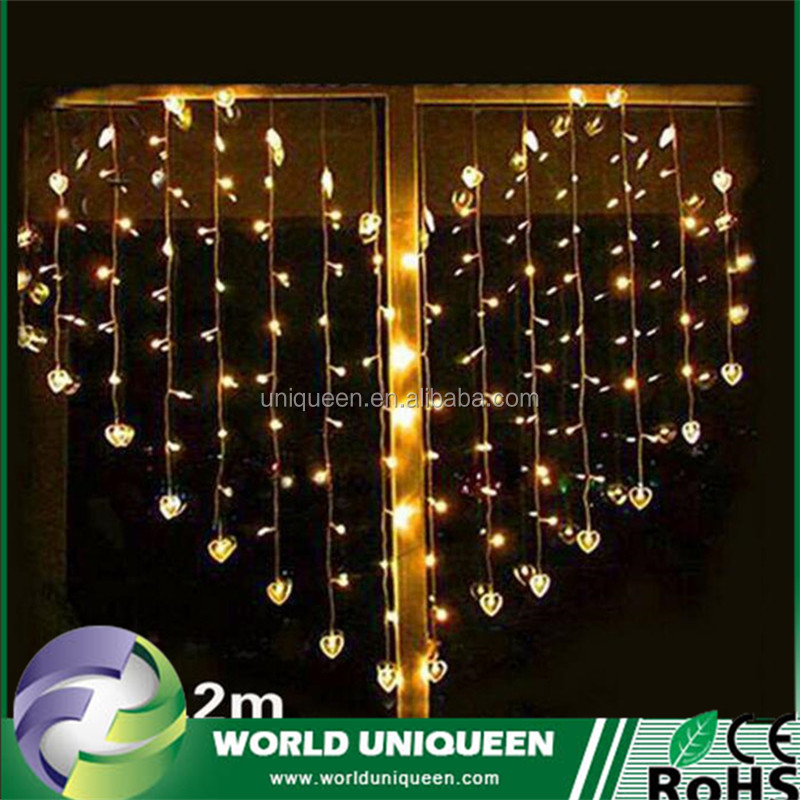 Free Shipping 1.5*1.2M Warm White <strong>124</strong> Hearts Led Net Lamp Led Heart Star LED String Fairy Holiday Net lights For Party Xmas