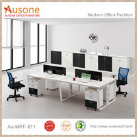with White Steel Frame Modern 4 Seater Office Workstation