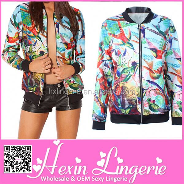 Sexy lady 2014 Printed lady leather jacket