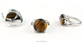 Silver charm cutting face oval tiger eye stone price ring wholesale