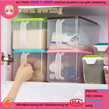 Food grade plastic PP storage rice container/plastic rice storage container rice box with handle