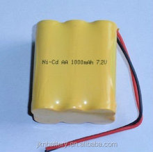 nicd aa 400mah 7.2v rechargeable battery pack