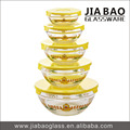 New Design 5pc Glassware Bowl Set & Decal Printed Glass Bowl Set of 5pcs & Glass Bowl set with PP lid