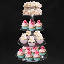 4 Tier Crystal Acrylic Round Cupcake Stand Wedding Birthday Display Cake Tower