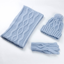 Fashion knitted neck scarf kids gloves hat and scarf sets