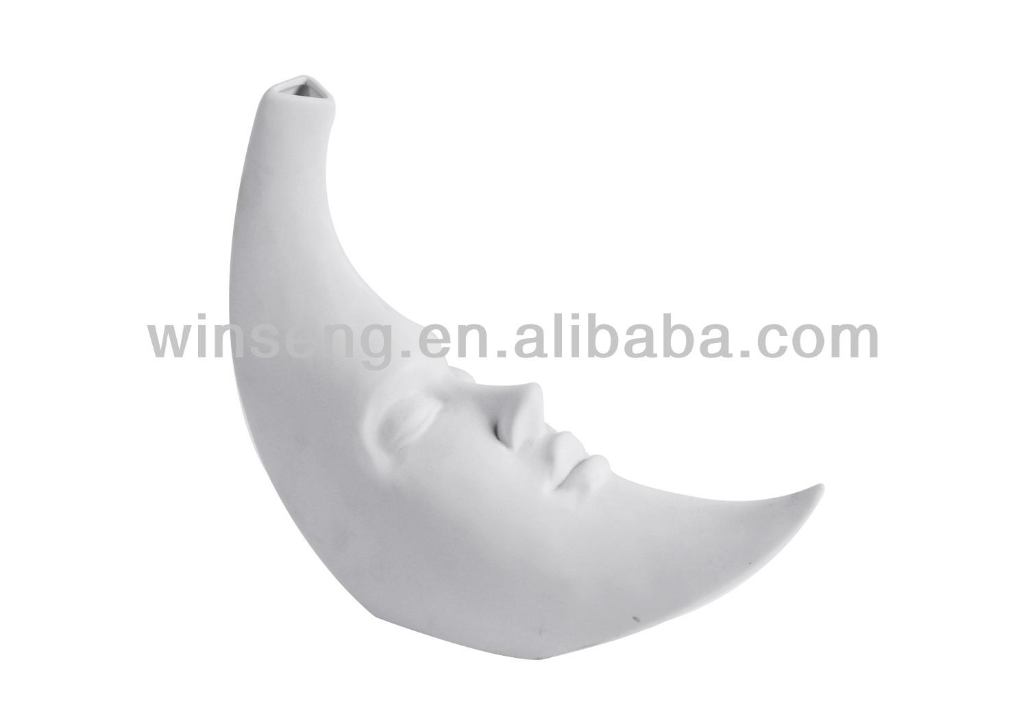 White Ceramic Moon Shape Vase (large ver)