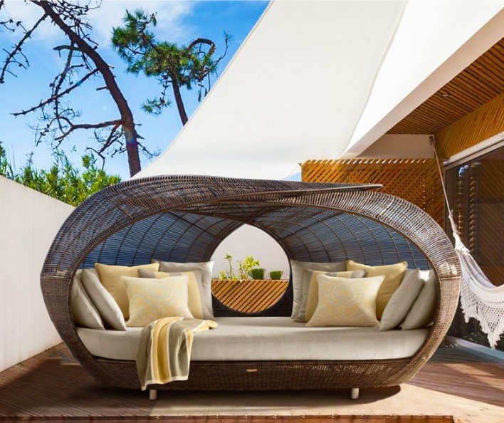 Hot sale outdoor furniture beach style rattan round daybed for sale