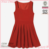 Hot selling ladies pleated sleeveless korean winter latest fashion dress design