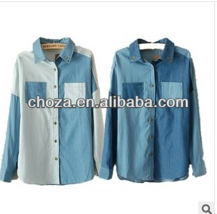 C60371A THE LATEST DESIGN HIGH QUANLITY FASHION AUTUMN NEWEST STYLE WOMEN 'S PRINTING LONG SLEEVE CASUAL DENIM SHIRT
