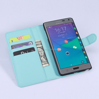Hot Selling Ultra Thin Lichee PU Leather Case Wallet Folio Flip Cover for Samsung GALAXY Note Edge N915