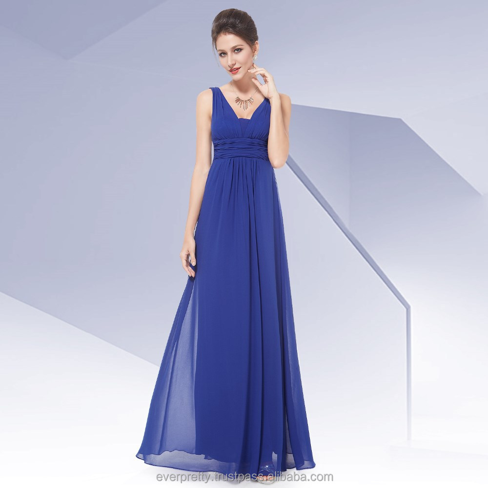 Elegant Sapphire Blue Deep V-neck Maxi Woman Evening Dress HE08110SB