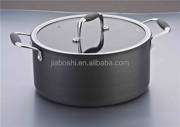 Mingshi Anodized hardening stockpot(glass lid )
