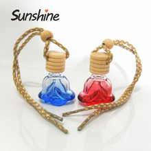 Secret sweet rose shape 6ml hanging small unique car perfume glass bottle
