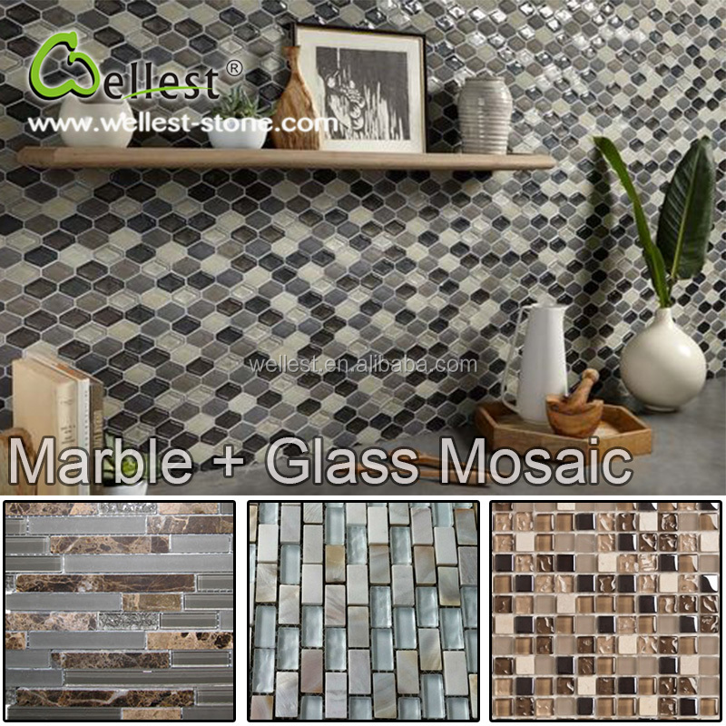 Wholesale Natural Marble and Glass Background Wall Mosaic