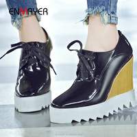 Wholesale genuine leather square-toe girls lace-up wedges heel shoes women antiskid wedges shoes